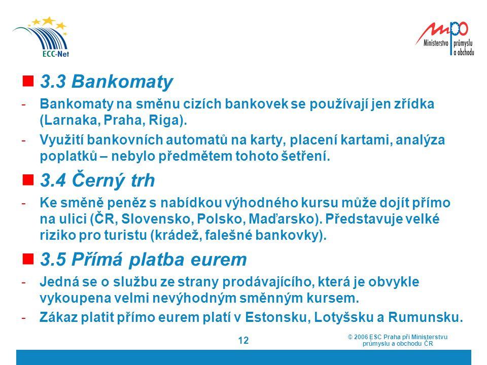 3.3 Bankomaty 3.4 Černý trh 3.5 Přímá platba eurem
