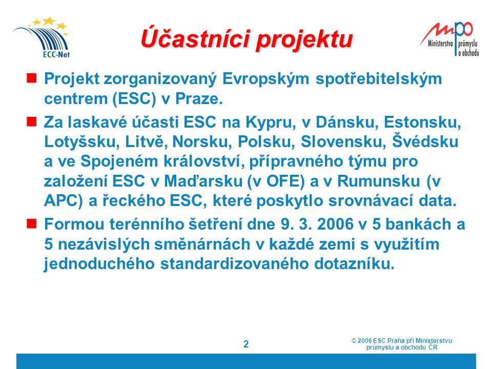 Účastníci projektu Projekt zorganizovaný Evropským spotřebitelským centrem (ESC) v Praze.