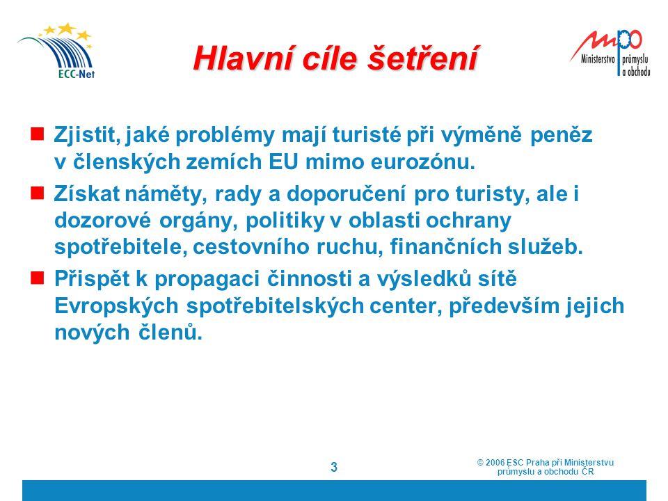 Hlavní cíle šetření Zjistit, jaké problémy mají turisté při výměně peněz v členských zemích EU mimo eurozónu.