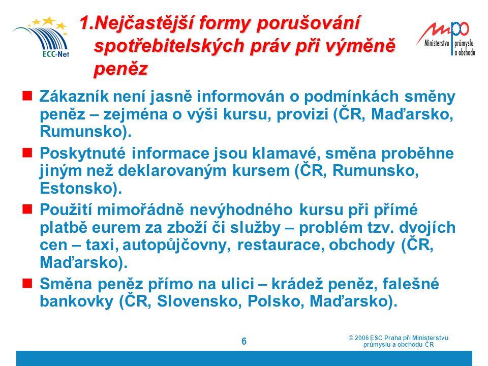 1.Nejčastější formy porušování spotřebitelských práv při výměně peněz