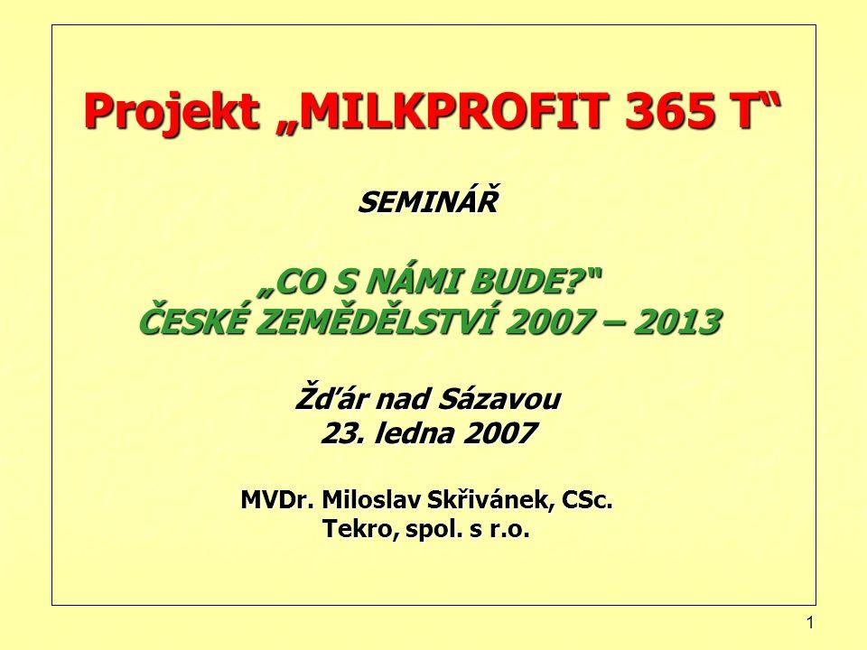 """Projekt """"MILKPROFIT 365 T SEMINÁŘ """"CO S NÁMI BUDE"""
