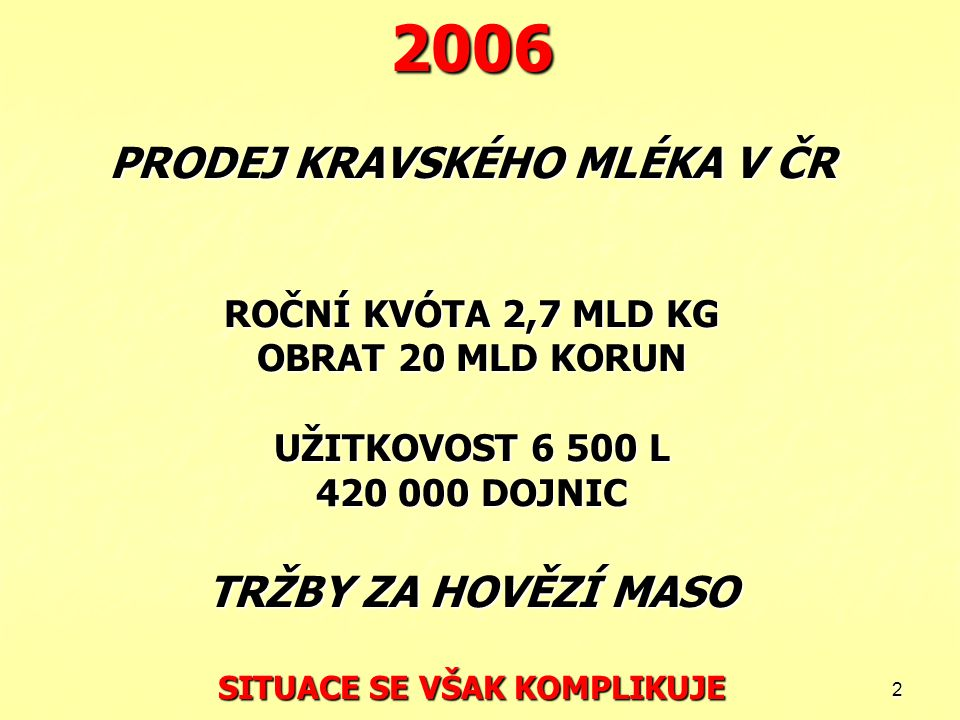 2006 PRODEJ KRAVSKÉHO MLÉKA V ČR ROČNÍ KVÓTA 2,7 MLD KG OBRAT 20 MLD KORUN UŽITKOVOST 6 500 L 420 000 DOJNIC TRŽBY ZA HOVĚZÍ MASO SITUACE SE VŠAK KOMPLIKUJE