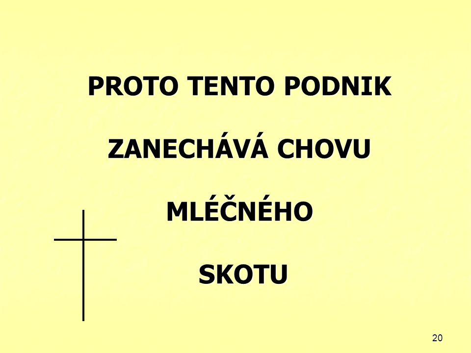 PROTO TENTO PODNIK ZANECHÁVÁ CHOVU MLÉČNÉHO SKOTU