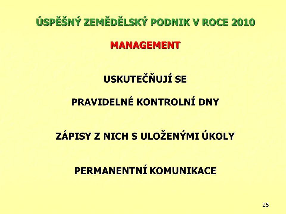 ÚSPĚŠNÝ ZEMĚDĚLSKÝ PODNIK V ROCE 2010 MANAGEMENT USKUTEČŇUJÍ SE PRAVIDELNÉ KONTROLNÍ DNY ZÁPISY Z NICH S ULOŽENÝMI ÚKOLY PERMANENTNÍ KOMUNIKACE
