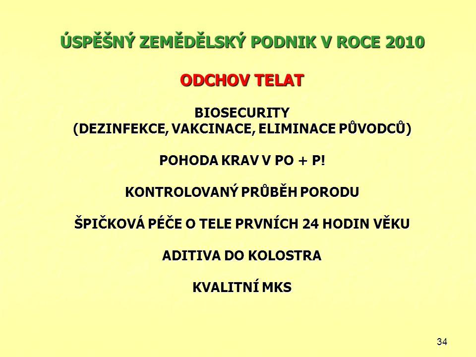 ÚSPĚŠNÝ ZEMĚDĚLSKÝ PODNIK V ROCE 2010 ODCHOV TELAT BIOSECURITY (DEZINFEKCE, VAKCINACE, ELIMINACE PŮVODCŮ) POHODA KRAV V PO + P.