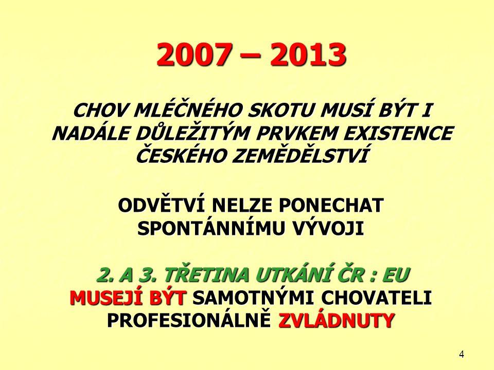 2007 – 2013 CHOV MLÉČNÉHO SKOTU MUSÍ BÝT I NADÁLE DŮLEŽITÝM PRVKEM EXISTENCE ČESKÉHO ZEMĚDĚLSTVÍ ODVĚTVÍ NELZE PONECHAT SPONTÁNNÍMU VÝVOJI 2.
