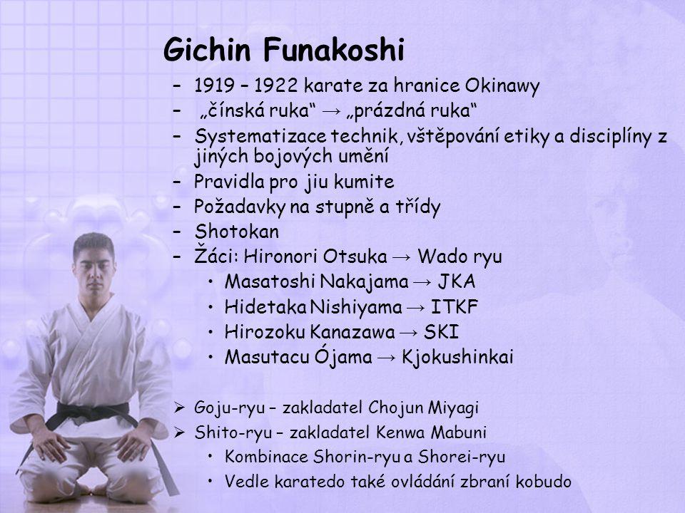 Gichin Funakoshi 1919 – 1922 karate za hranice Okinawy