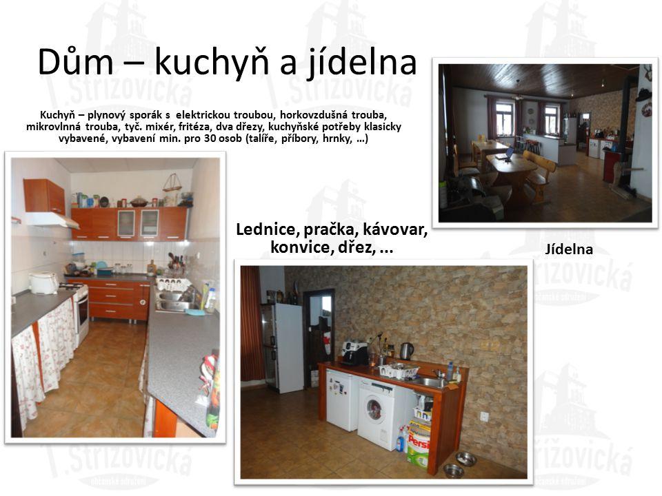 Lednice, pračka, kávovar, konvice, dřez, ...