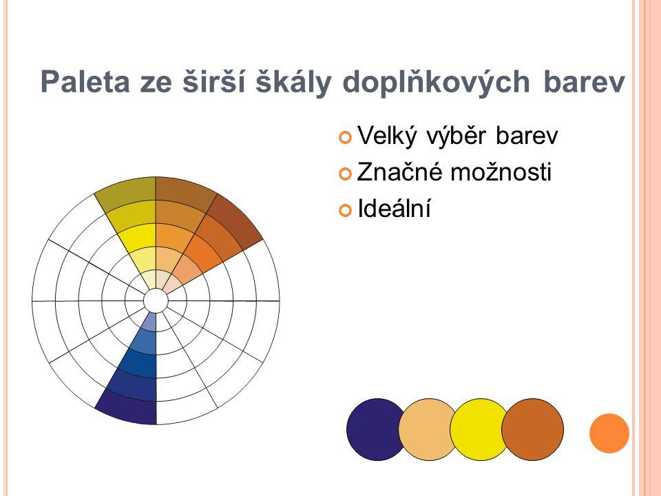 Paleta ze širší škály doplňkových barev