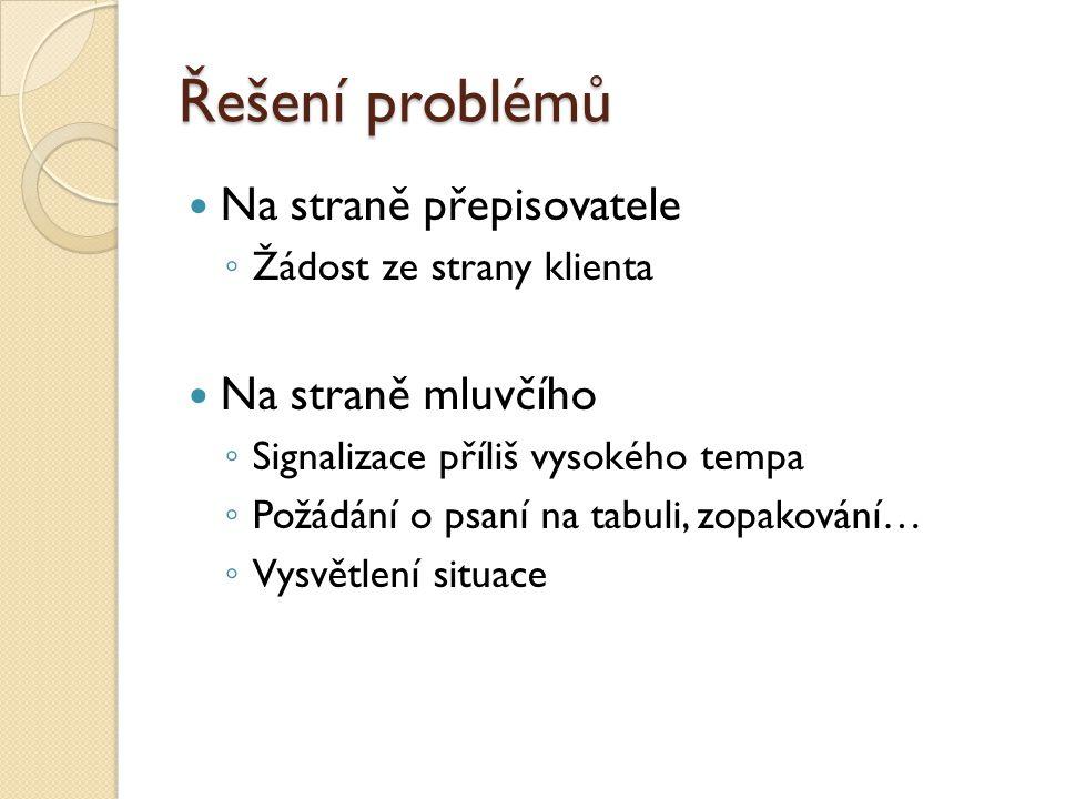 Řešení problémů Na straně přepisovatele Na straně mluvčího