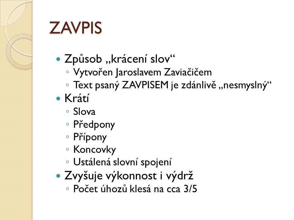 """ZAVPIS Způsob """"krácení slov Krátí Zvyšuje výkonnost i výdrž"""