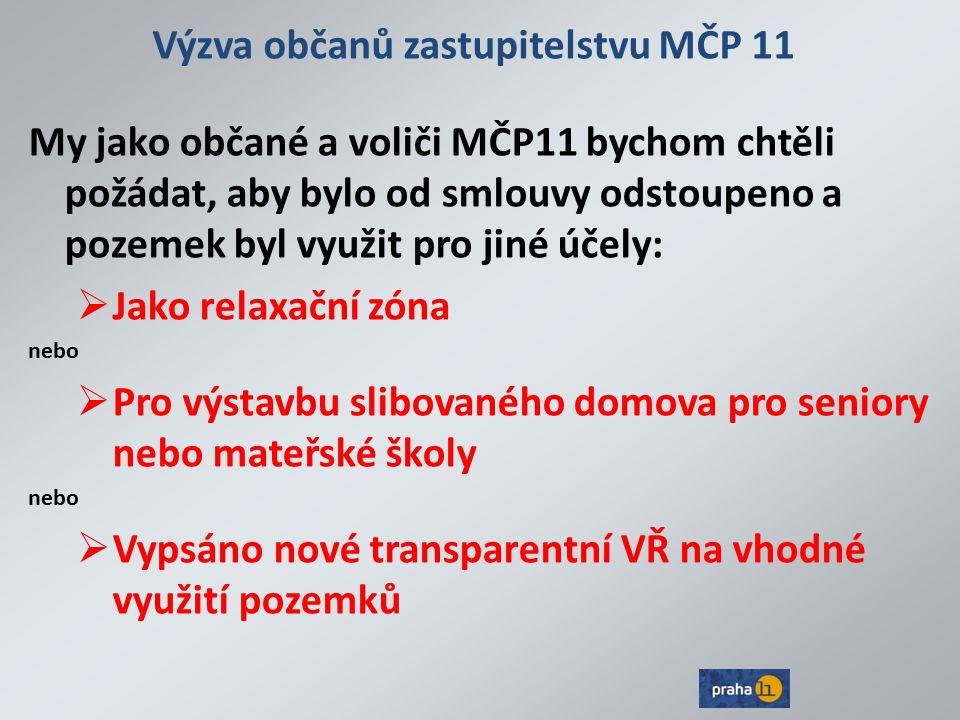 Výzva občanů zastupitelstvu MČP 11
