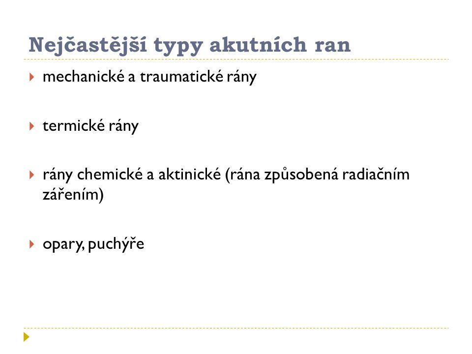 Nejčastější typy akutních ran