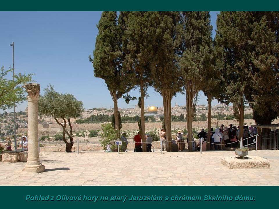 Pohled z Olivové hory na starý Jeruzalém s chrámem Skalního dómu.