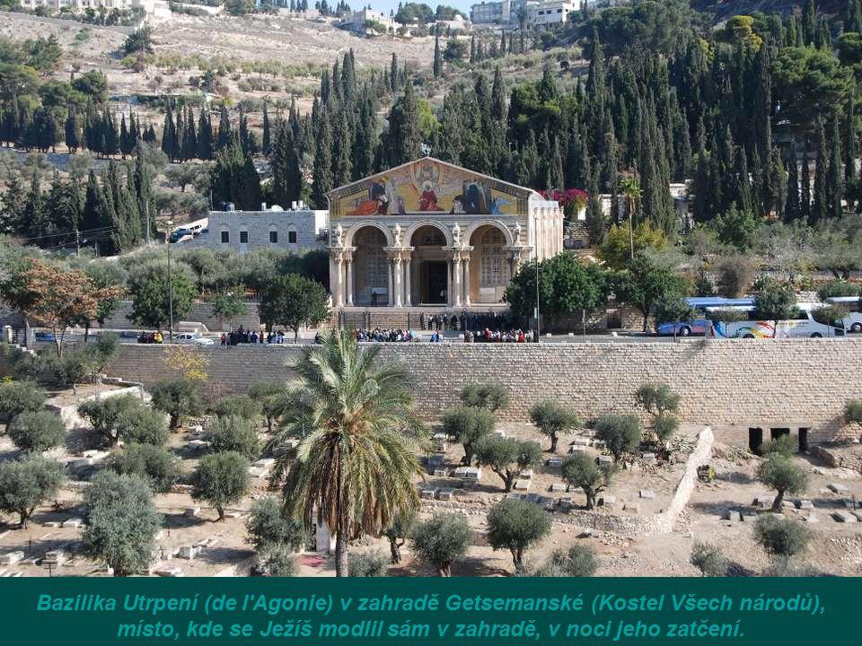 místo, kde se Ježíš modlil sám v zahradě, v noci jeho zatčení.