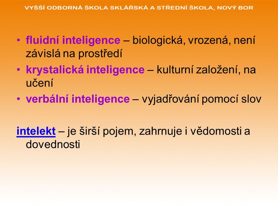 fluidní inteligence – biologická, vrozená, není závislá na prostředí