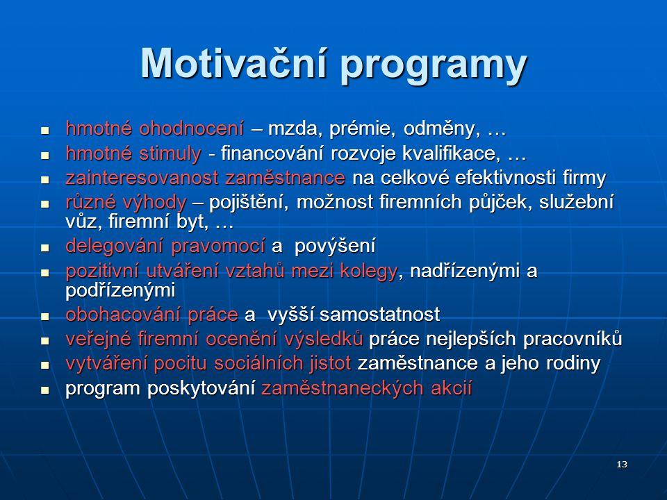 Motivační programy hmotné ohodnocení – mzda, prémie, odměny, …