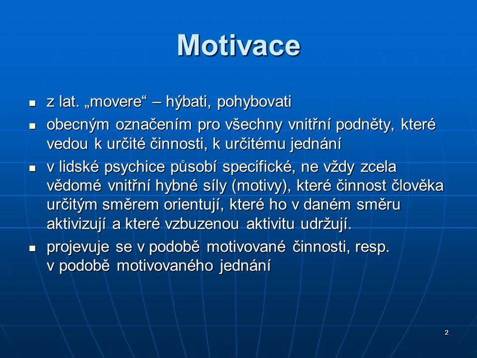 """Motivace z lat. """"movere – hýbati, pohybovati"""