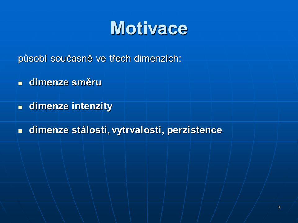 Motivace působí současně ve třech dimenzích: dimenze směru