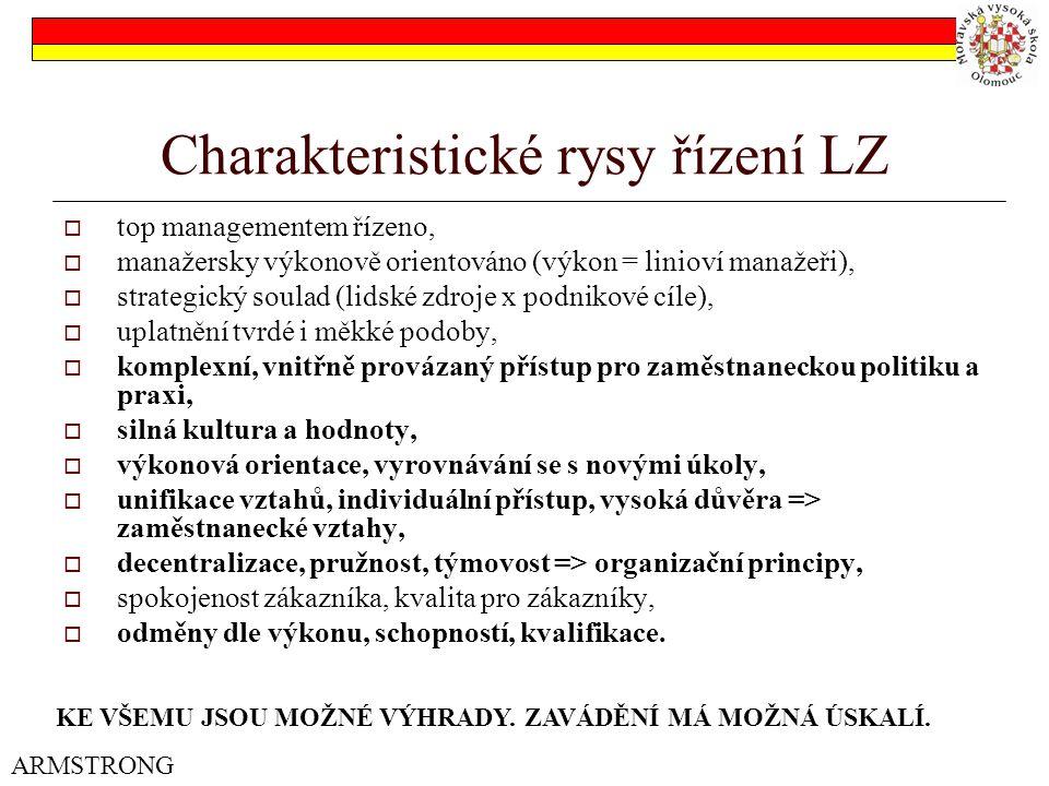 Charakteristické rysy řízení LZ