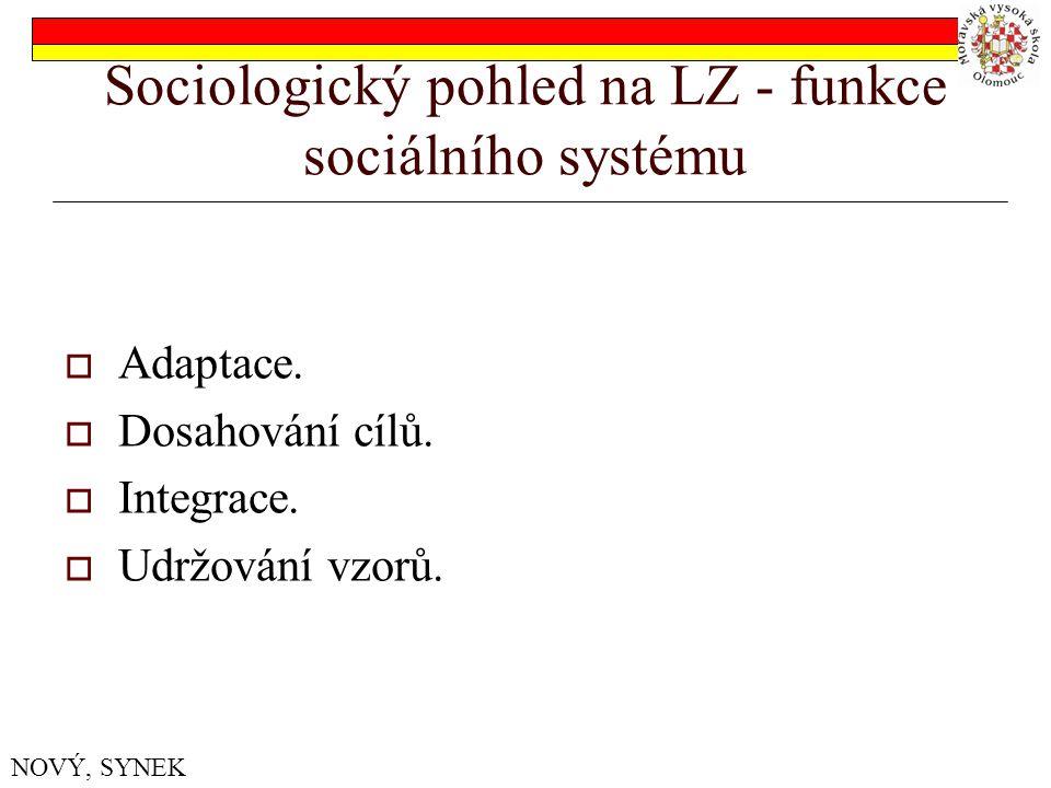 Sociologický pohled na LZ - funkce sociálního systému