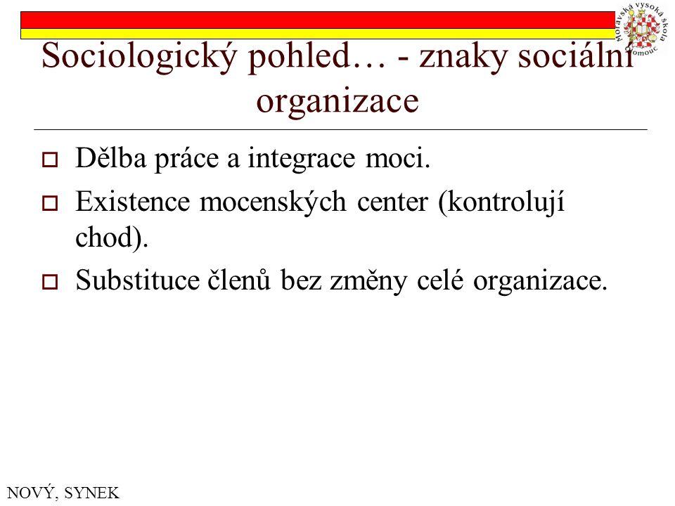 Sociologický pohled… - znaky sociální organizace