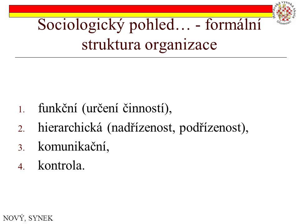 Sociologický pohled… - formální struktura organizace