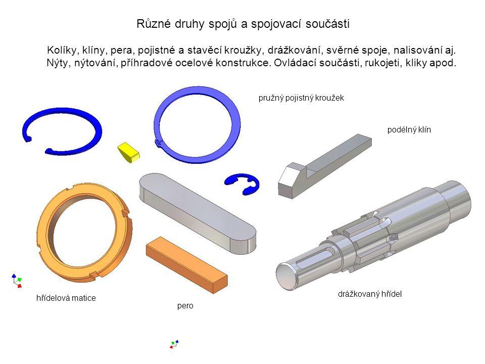 Různé druhy spojů a spojovací součásti