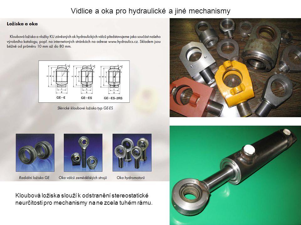 Vidlice a oka pro hydraulické a jiné mechanismy