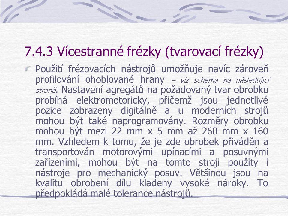 7.4.3 Vícestranné frézky (tvarovací frézky)