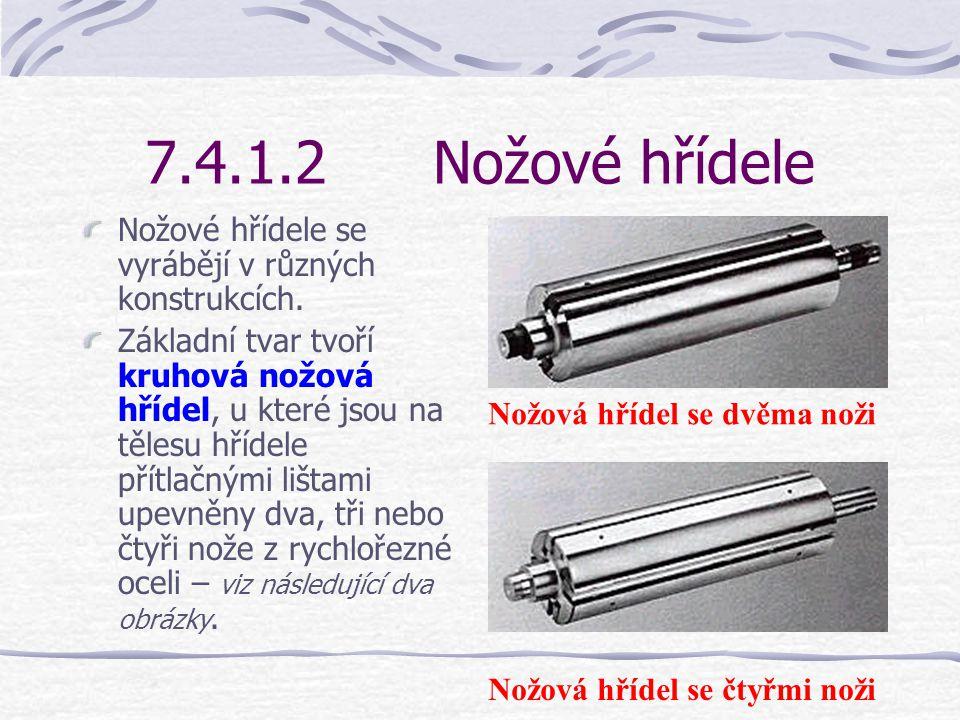 7.4.1.2 Nožové hřídele Nožové hřídele se vyrábějí v různých konstrukcích.