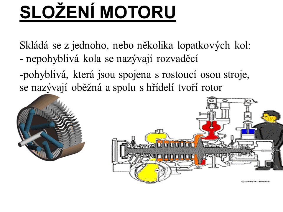 Složení Motoru Skládá se z jednoho, nebo několika lopatkových kol: - nepohyblivá kola se nazývají rozvaděcí.