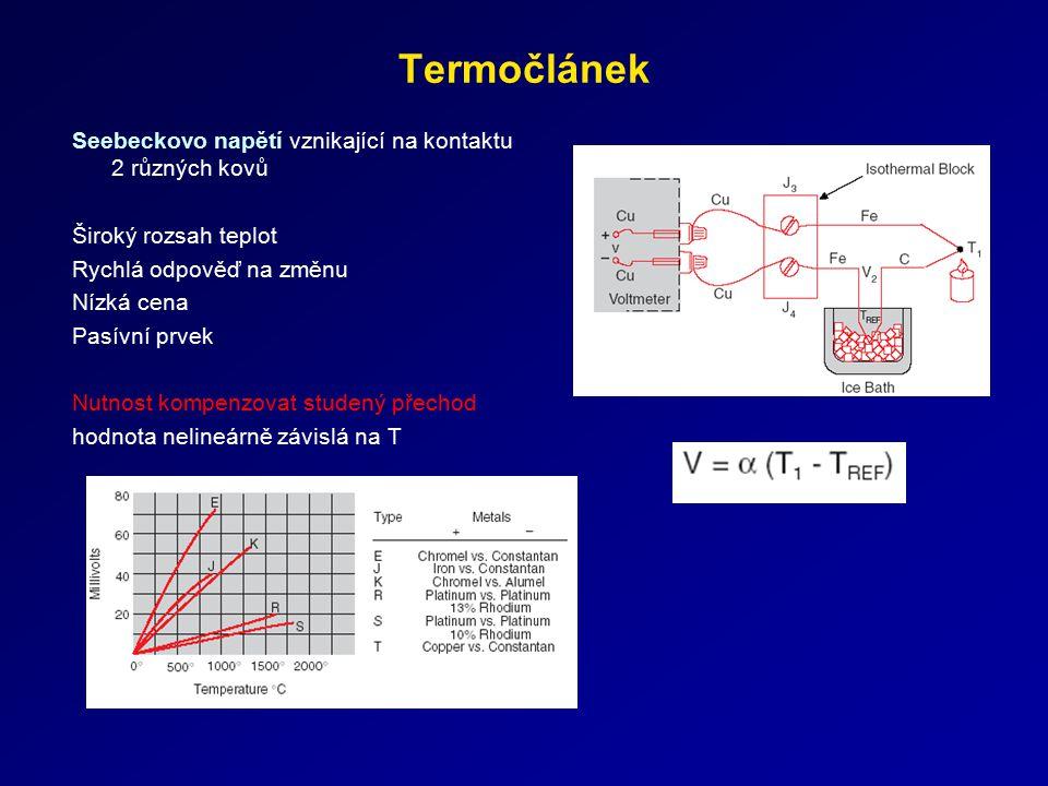 Termočlánek Seebeckovo napětí vznikající na kontaktu 2 různých kovů