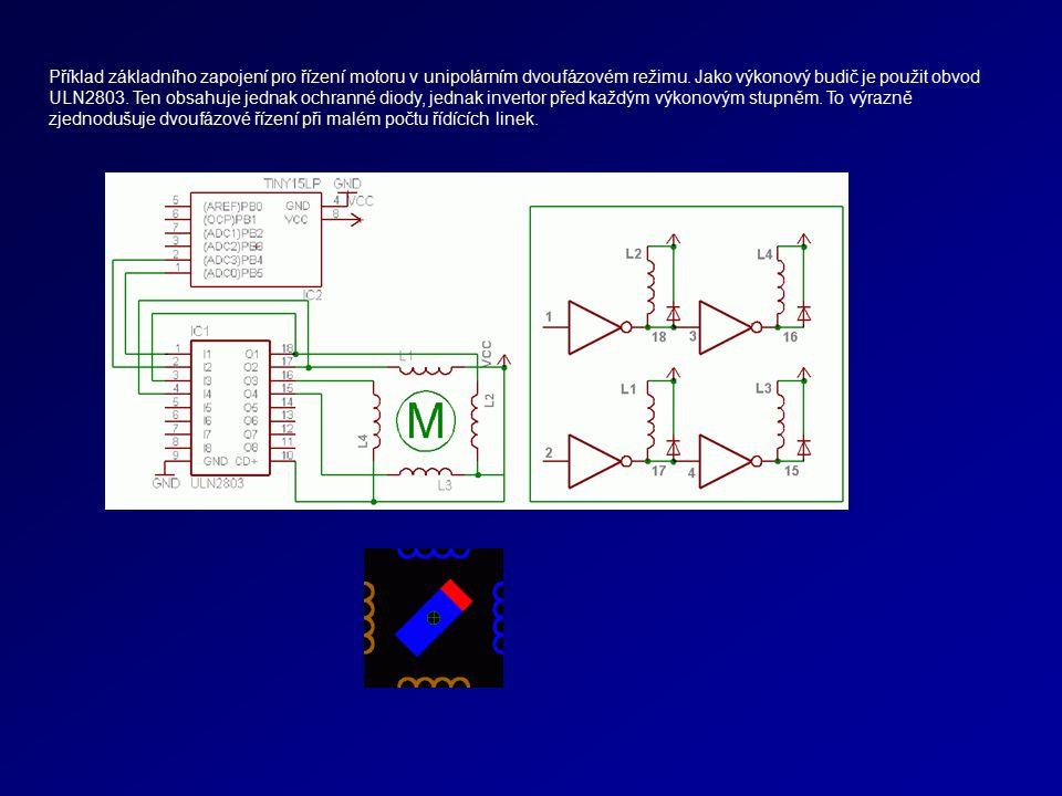 Příklad základního zapojení pro řízení motoru v unipolárním dvoufázovém režimu.