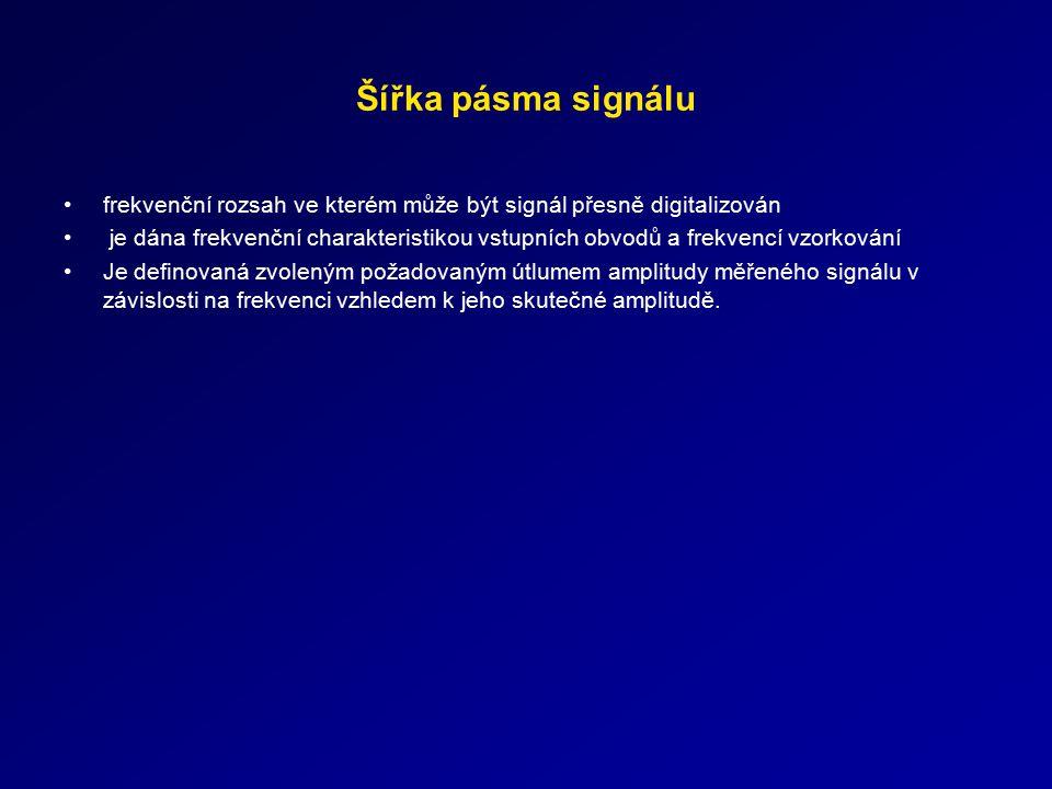 Šířka pásma signálu frekvenční rozsah ve kterém může být signál přesně digitalizován.