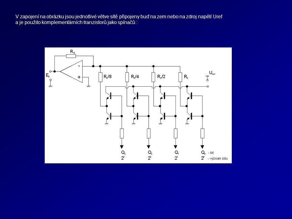 V zapojení na obrázku jsou jednotlivé větve sítě připojeny buď na zem nebo na zdroj napětí Uref