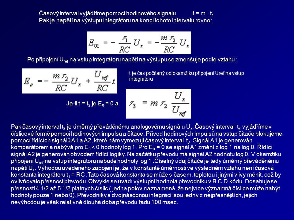Časový interval vyjádříme pomocí hodinového signálu t = m . t1