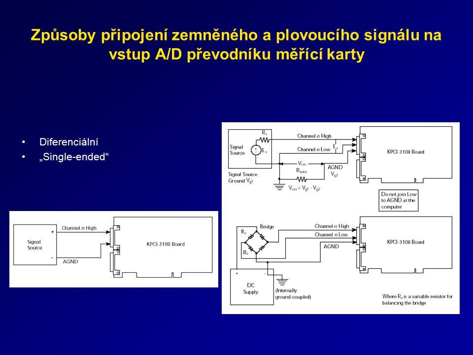 Způsoby připojení zemněného a plovoucího signálu na vstup A/D převodníku měřící karty