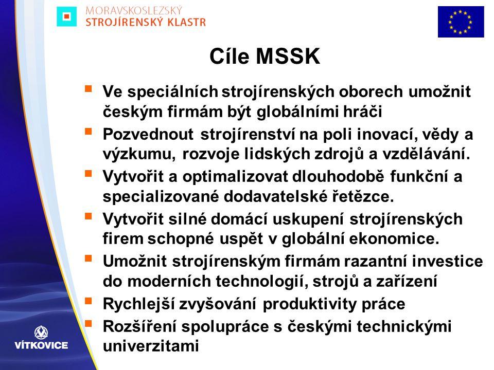 Cíle MSSK Ve speciálních strojírenských oborech umožnit českým firmám být globálními hráči.