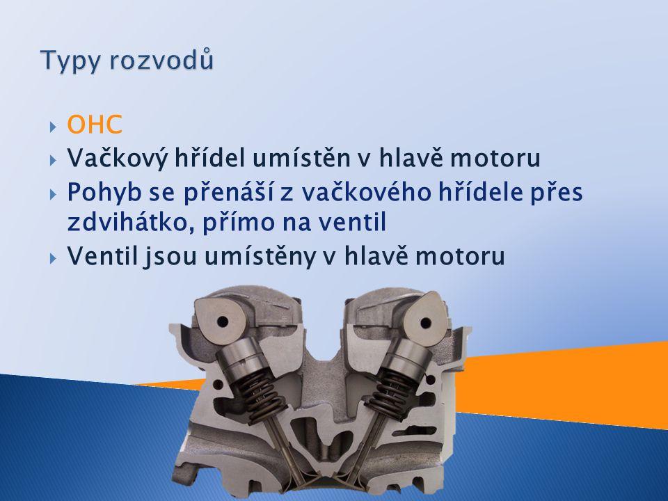 Typy rozvodů OHC Vačkový hřídel umístěn v hlavě motoru