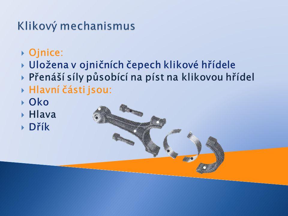 Klikový mechanismus Ojnice: Uložena v ojničních čepech klikové hřídele