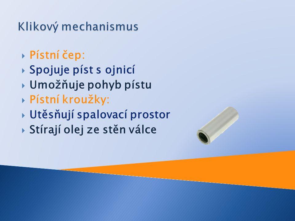 Klikový mechanismus Pístní čep: Spojuje píst s ojnicí