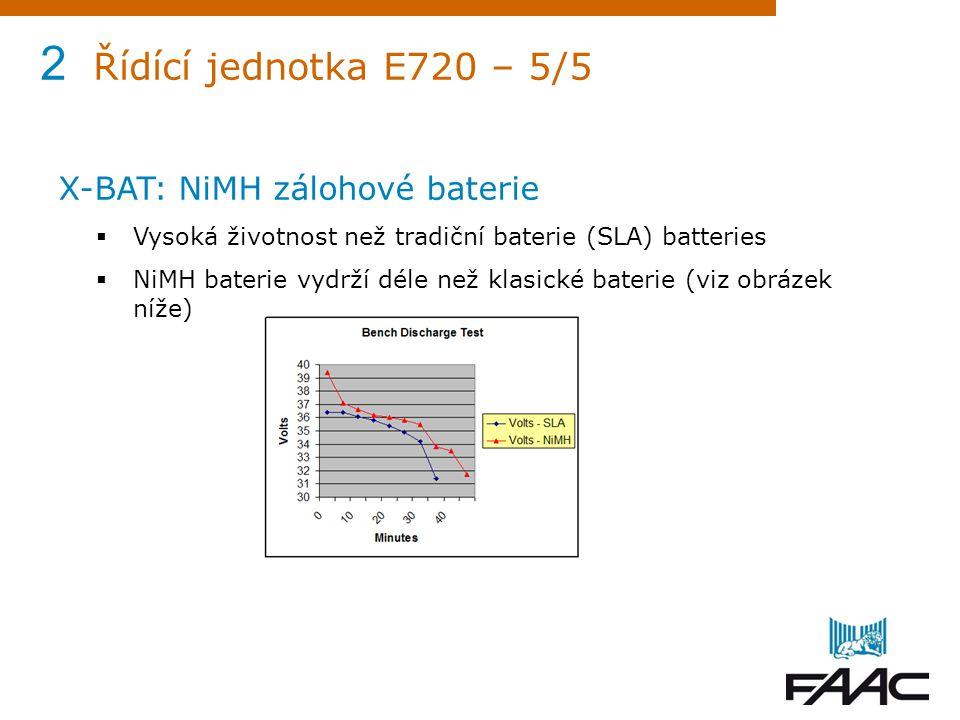 2 Řídící jednotka E720 – 5/5 X-BAT: NiMH zálohové baterie