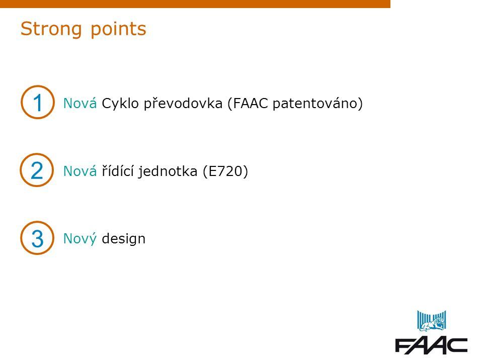 1 2 3 Strong points Nová Cyklo převodovka (FAAC patentováno)