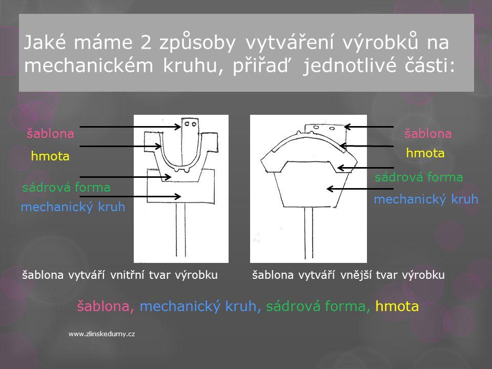 Jaké máme 2 způsoby vytváření výrobků na mechanickém kruhu, přiřaď jednotlivé části: