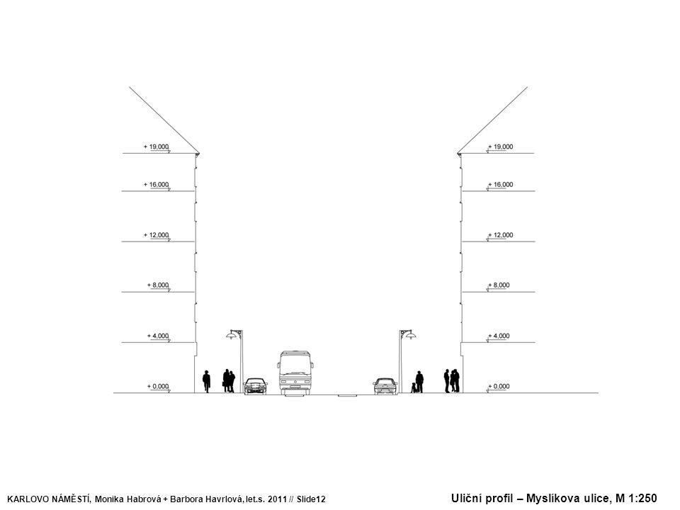 Uliční profil – Myslíkova ulice, M 1:250