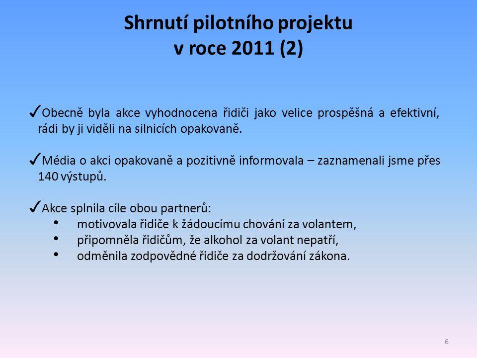Shrnutí pilotního projektu v roce 2011 (2)