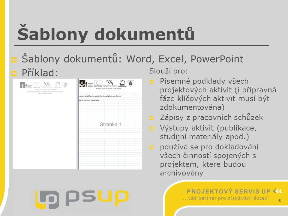 Šablony dokumentů Šablony dokumentů: Word, Excel, PowerPoint Příklad: