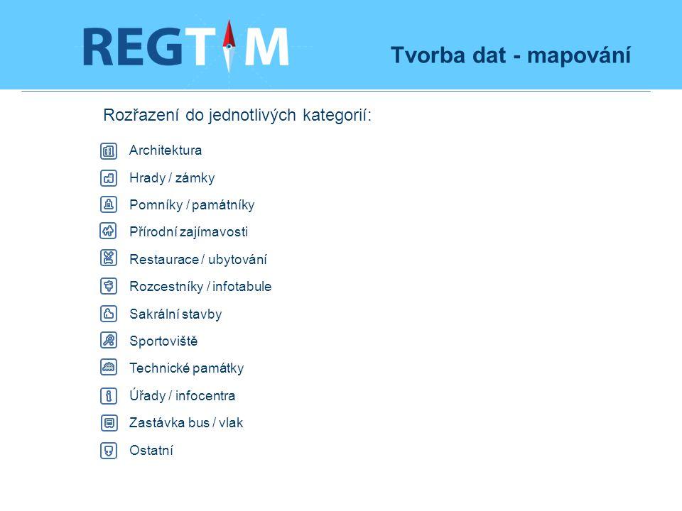 Tvorba dat - mapování Rozřazení do jednotlivých kategorií: