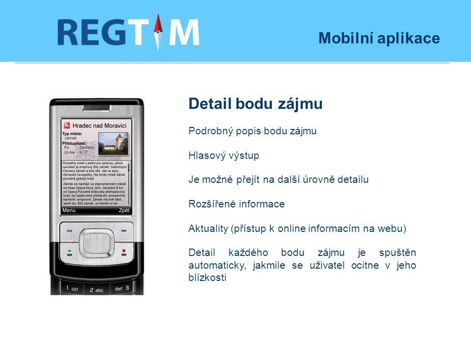Mobilní aplikace Detail bodu zájmu Podrobný popis bodu zájmu